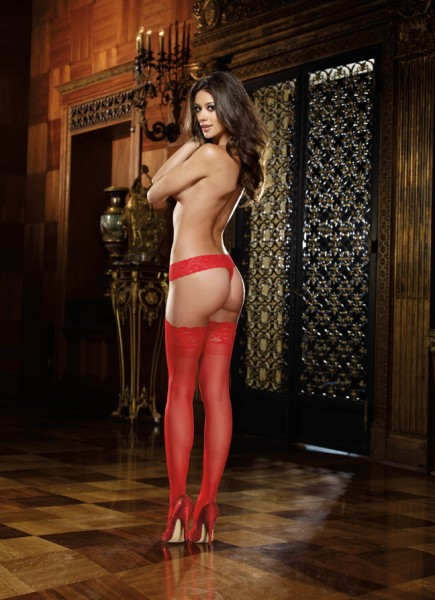 Lace Top Thigh High Red O/s
