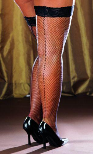 Thigh High Fishnet Black Os Queen milan