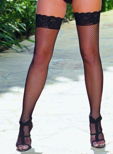 Thigh High Fishnet Lace Black Os seville