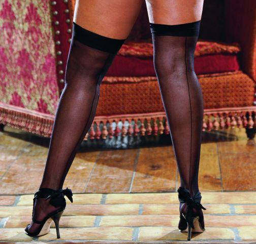 Thigh High Sheer Black Os Queen moulin