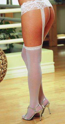 Pantyhose With Garters White Os Queen verona
